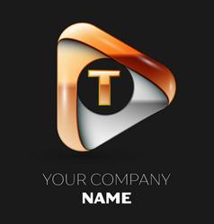 Golden letter t logo in golden-silver triangle vector