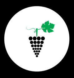 Grapes fruit simple black and green icon eps10 vector