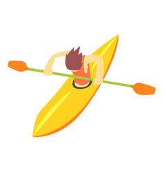 guy on white water kayak part of teenagers vector image