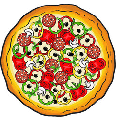handdrawn paint of pizza with cheese vector image