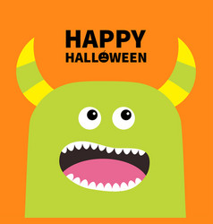 happy halloween monster scary screaming face head vector image