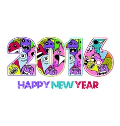Happy new year 2016 monster doodle background vector