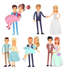 Happy smiling wedding couples isolated set vector