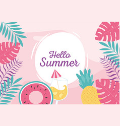 hello summer tropical leaves foliage float vector image