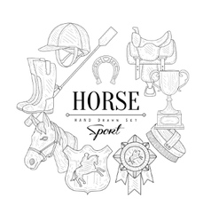 Horse Related Vintage Sketch vector