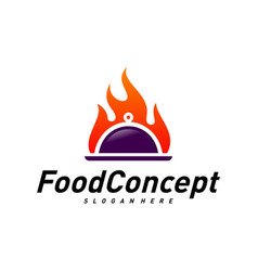 hot food logo concept fast cooking logo design vector image