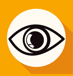 icon eye on white circle with a long shadow vector image