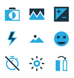 image icons colored set with tag face chronometer vector image