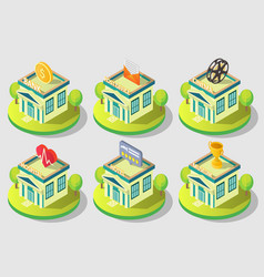 isometric city public building icon set vector image