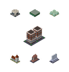Isometric urban set of water storage house vector