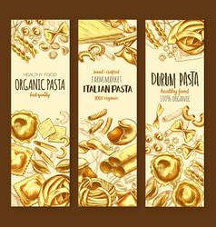 italian cuisine pasta and spaghetti sketch banner vector image