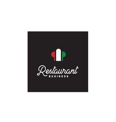 italian restaurant italy flag chef hat logo vector image