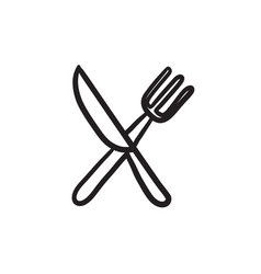 knife and fork sketch icon vector image