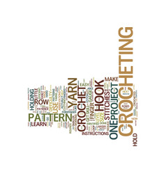 Learn to crochet text background word cloud vector