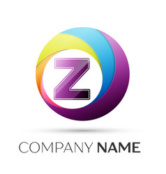 letter z logo symbol in the colorful circle on vector image