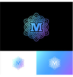 M guilloche letter monogram ornament vector