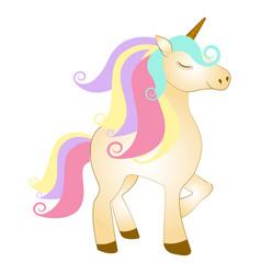 Majestic cute unicorn cartoon character fantasy vector