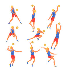 male volleyball player playing wit ball set vector image