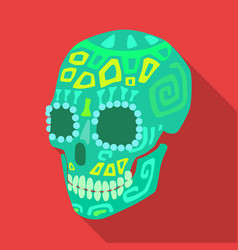 Mexican calavera skull icon in flat style isolated vector