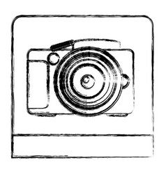 monochrome sketch of analog photo camera in square vector image