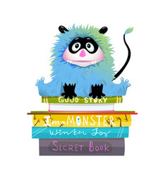 Monster on stack books read and study clipart vector