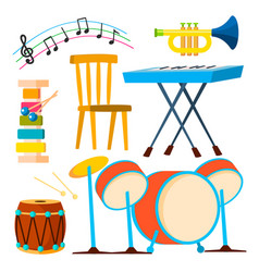 musical instruments drum keyboard instrument vector image