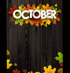 October background with colorful leaves vector