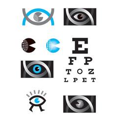 optician eye icon set vector image