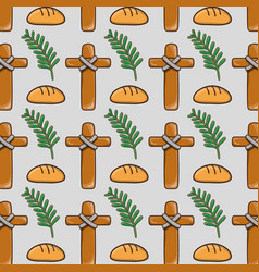 Palm branches with cross and bread background vector