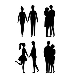 people silhouettes isolated young couple in love vector image