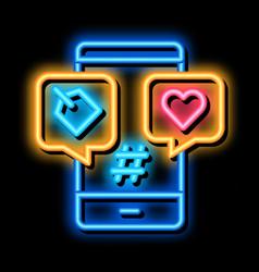 Phone heart label neon glow icon vector