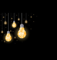 Polygonal light bulbs hanging from ceiling vector