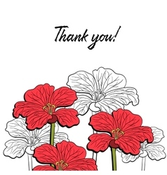 Postcard With Red Flowers 2 vector image