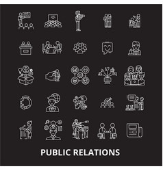 Public relations editable line icons set on vector
