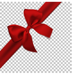 realistic red bow and ribbon isolated vector image