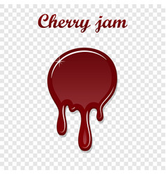 Red cherry drip confiture 3d berry sweet jam spot vector
