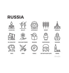 russia icons symbols and stereotypes of russia vector image