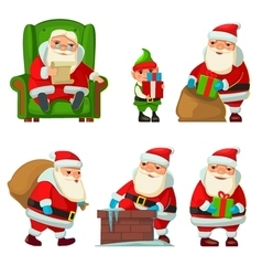 Santa Claus and elf vector image