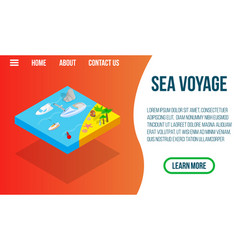 Sea voyage concept banner isometric style vector