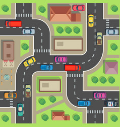 seamless city map top view building and street vector image