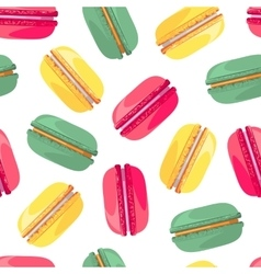 Seamless pattern with tasty macaroon vector image