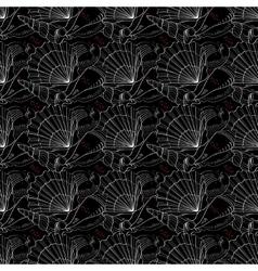 Seashells seamless pattern Black vector