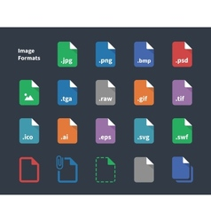 Set image file labels icons vector