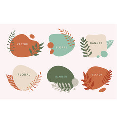 set liquid organic forms and badges set vector image