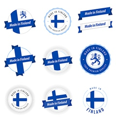 Set made in finland labels and ribbons vector