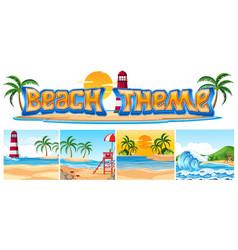 set of beach theme landscape vector image