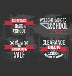 Set of clearance sale school typographic vector