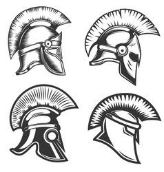 Set of spartan helmets isolated on white vector
