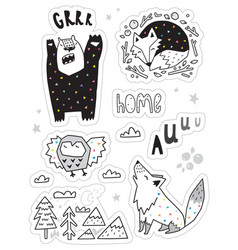 set with different hand drawn stickers with vector image