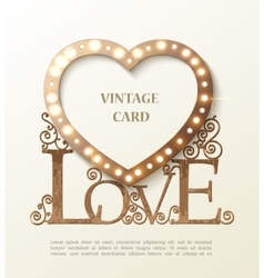 Shine heart with love and shadow vintage card vector image
